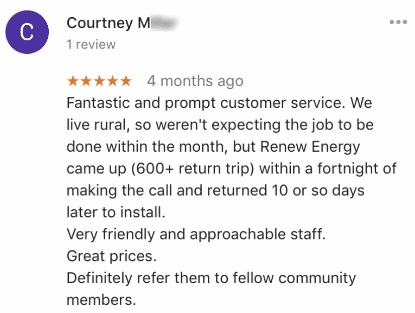 renew energy solar reviews testimonials perth courtney