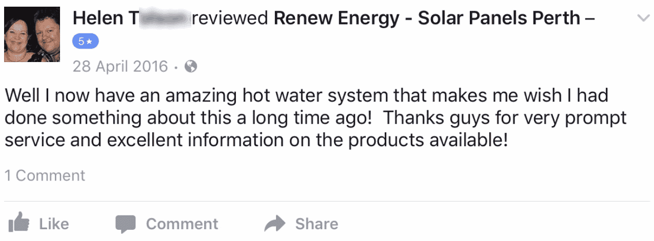 renew energy solar reviews testimonials facebook perth