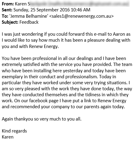 renew energy solar reviews testimonials munster perth western australia