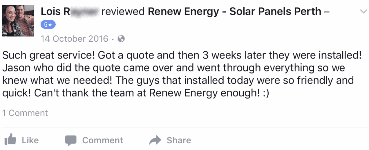 renew energy solar reviews testimonials ashby WA perth lois r