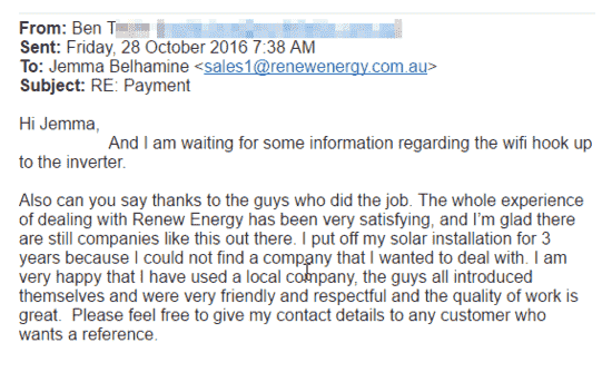 renew energy solar reviews testimonials perth ben t