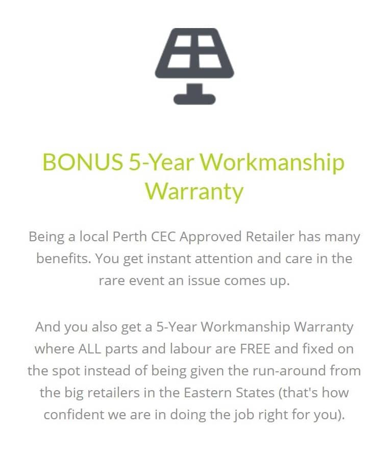 bonus 5 year workmanship warranty