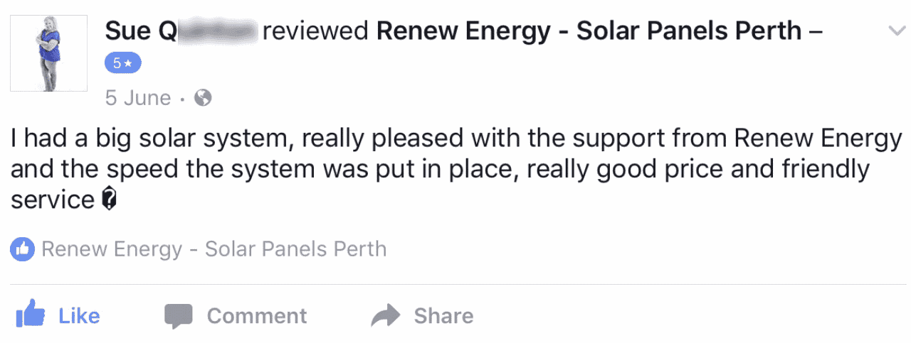 renew energy solar reviews testimonials facebook port kennedy perth WA sue q